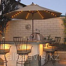 Оформление зонтиков в кафе ретро гирляндой, гирлянда для кафе, подсветка зонтиков в кафе.