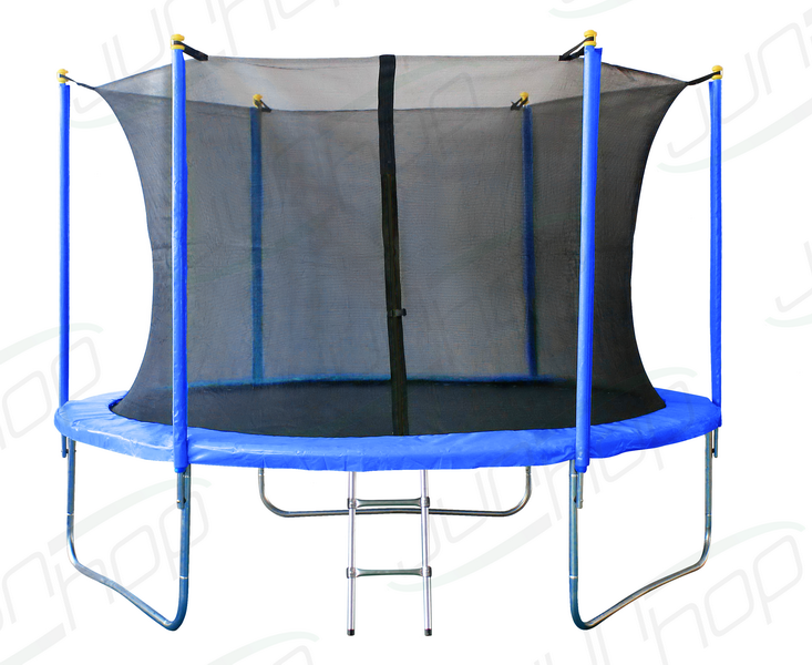 Батут JunHop 8ft (2,4 метра, синий) с защитной сетью и лестницей