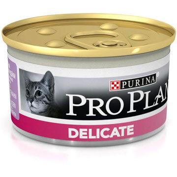 Pro Plan Delicate для чувствительного пищеварения, паштет с индейкой, банка 85гр.