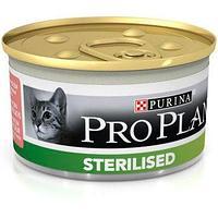 Pro Plan Sterilised для стерилизованных кошек и кастрированных котов паштет с тунцом, банка 85гр.