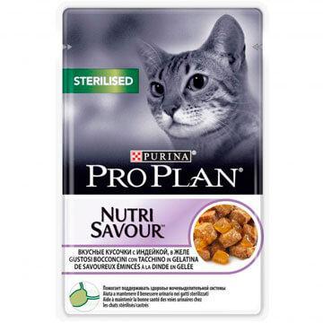 Pro Plan Sterilised для стерилизованных кошек и кастрированных котов, индейка в желе, пауч 85гр.
