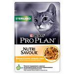 Pro Plan Sterilised для стерилизованных кошек и кастрированных котов, курица в соусе, пауч 85гр.