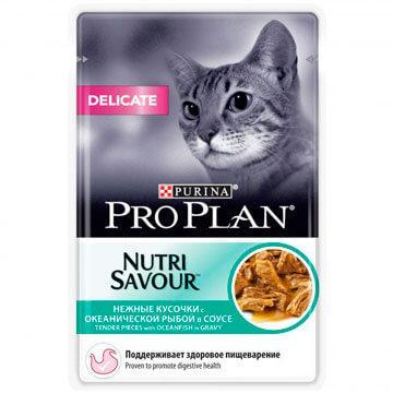 Pro Plan Delicate для чувствительного пищеварения, океаническая рыба в соусе, пауч 85гр.