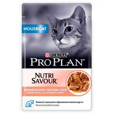 Pro Plan Housecat для домашних кошек, лосось в соусе, пауч 85 гр.