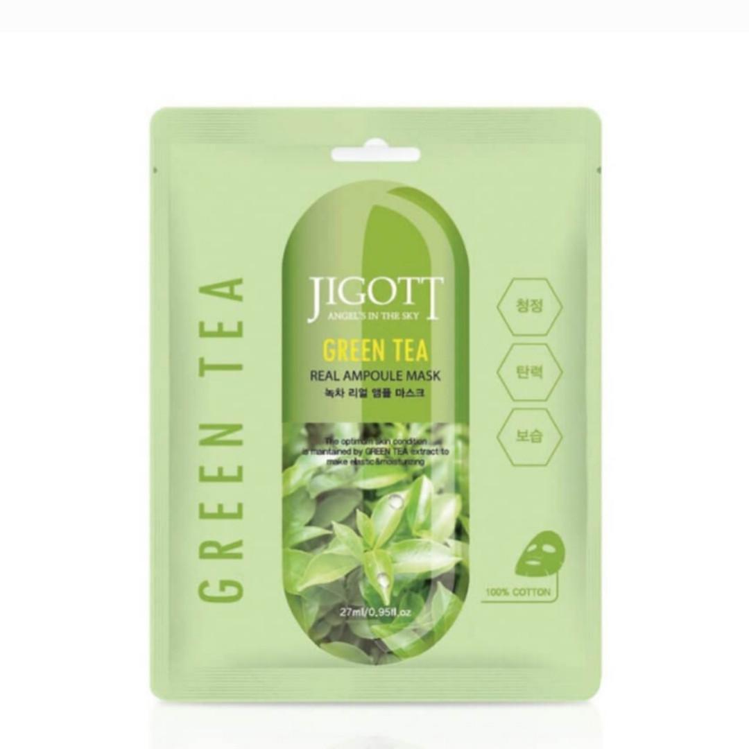 Ампульная тканевая маска с зеленым чаем Jigott Green Tea Real Ampoule Mask, 27мл