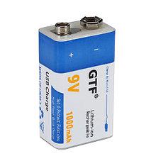 Аккумулятор Крона 9V 1000 mA (6LF22, MN1604, 6LR61) с зарядкой от USB