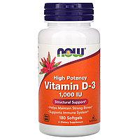 Now Foods, витамин D3, высокоактивный, 25 мкг (1000 МЕ), 180 мягких таблеток