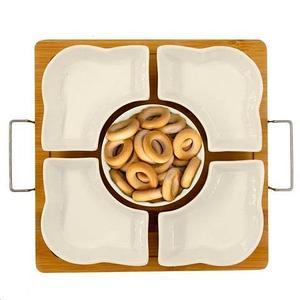 Менажница составная керамическая Easy Life для закусок на деревянной подставке (5 тарелок на квадратной