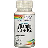 Solaray, витамины D3 и K2, без сои, 125 мкг (5000 МЕ), 60 растительных капсул