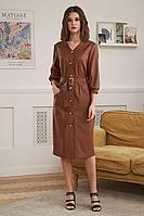Женское осеннее кожаное коричневое платье Fantazia Mod 3910 48р.