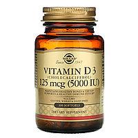Solgar, витамин D3 (холекальциферол), 125 мкг (5000 МЕ), 100 капсул