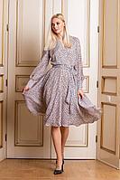 Женское осеннее шифоновое бежевое платье Achosa 1680 бежевый с золотом 44р.