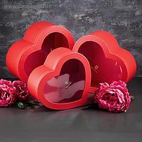 Набор коробок в форме сердца 3 в 1, с окном 31 х 28 х 14,5 - 26 х 24 х 11 см
