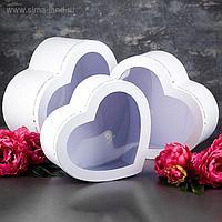 Набор коробок в форме сердца 3 в 1, с окном, 31 х 28 х 14,5 - 26 х 24 х 11 см