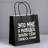 Пакет подарочный бумажный с разными приколами размер 22 × 22 × 11 см и 24 х 14 х 30 см, фото 7