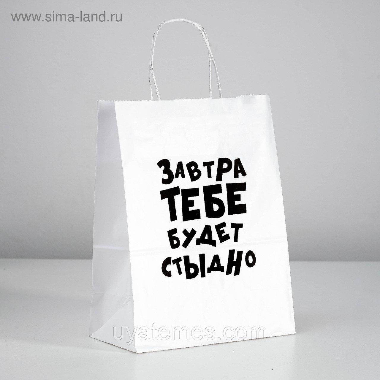 Пакет подарочный бумажный с разными приколами размер 22 × 22 × 11 см и 24 х 14 х 30 см