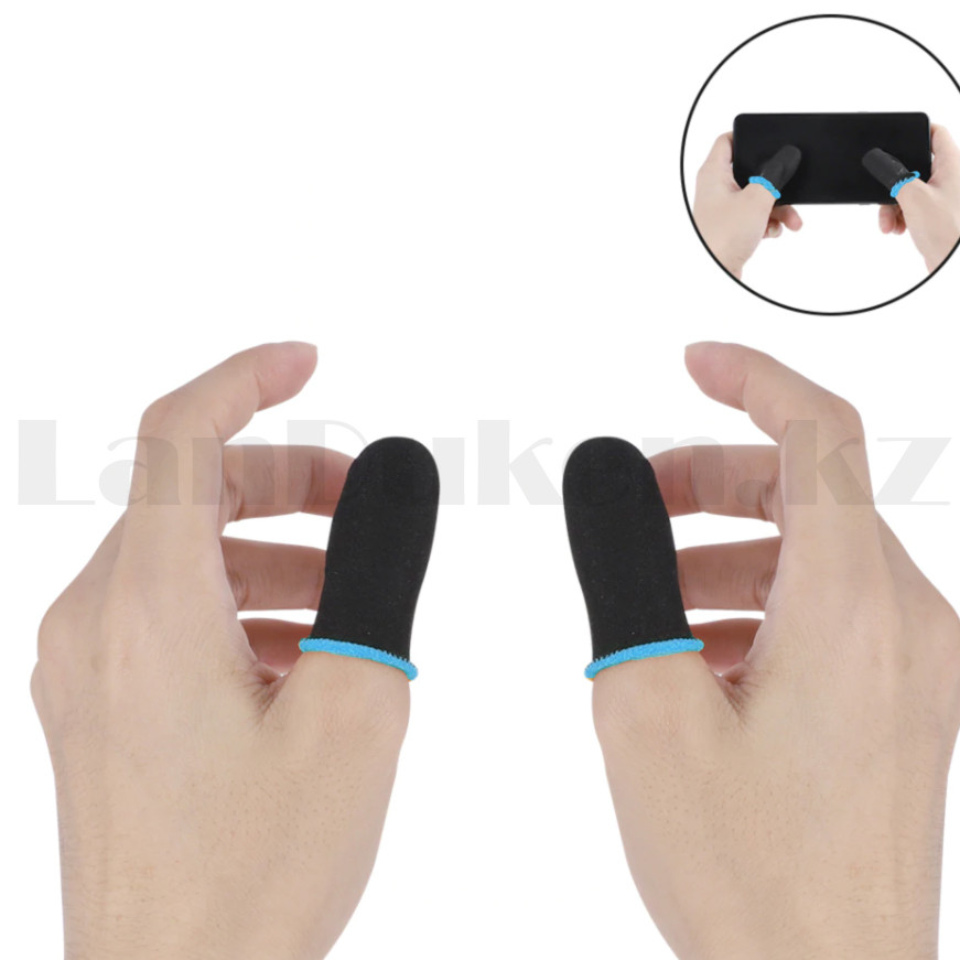 Игровые перчатки для пальцев для игр на телефоне сенсорные ультратонкие многоразовые черные - фото 5