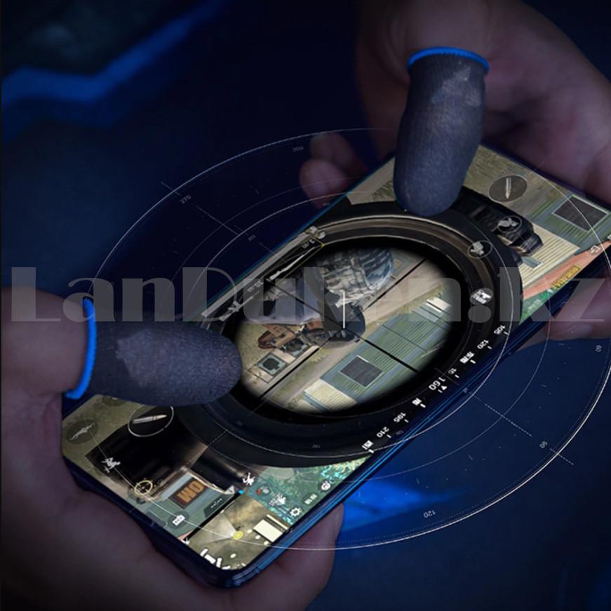 Игровые перчатки для пальцев для игр на телефоне сенсорные ультратонкие многоразовые черные - фото 9