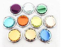 Карманное зеркальце двойное с увеличением, цвет Бирюзовый