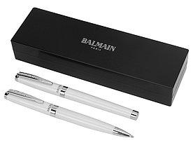Набор ручек Cherbourg в футляре: ручка шариковая и роллер, белый/черный, черные чернила