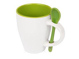 Кружка Авеленго с ложкой, зеленое яблоко
