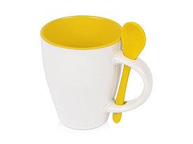 Кружка Авеленго с ложкой, белый/желтый