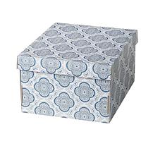 Коробка с крышкой СМЕКА серый/цветок 26x32x17 см ИКЕА, IKEA