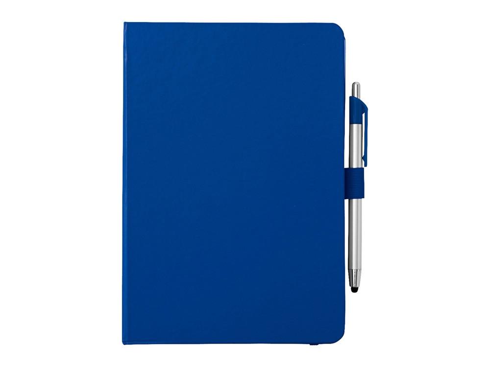 Блокнот A5 Crown с шариковой ручкой-стилусом, синий/серебристый (Р)