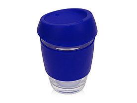 Стеклянный стакан Monday с силиконовой крышкой и манжетой, 350мл, синий