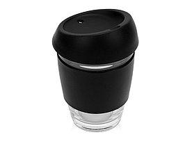 Стеклянный стакан Monday с силиконовой крышкой и манжетой, 350мл, черный