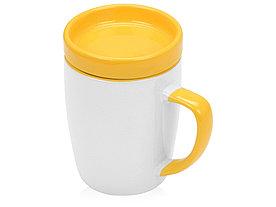 Кружка с универсальной подставкой Мак-Кинни , белый/желтый