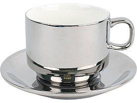 Серебряная чайная пара: чашка на 250 мл с блюдцем