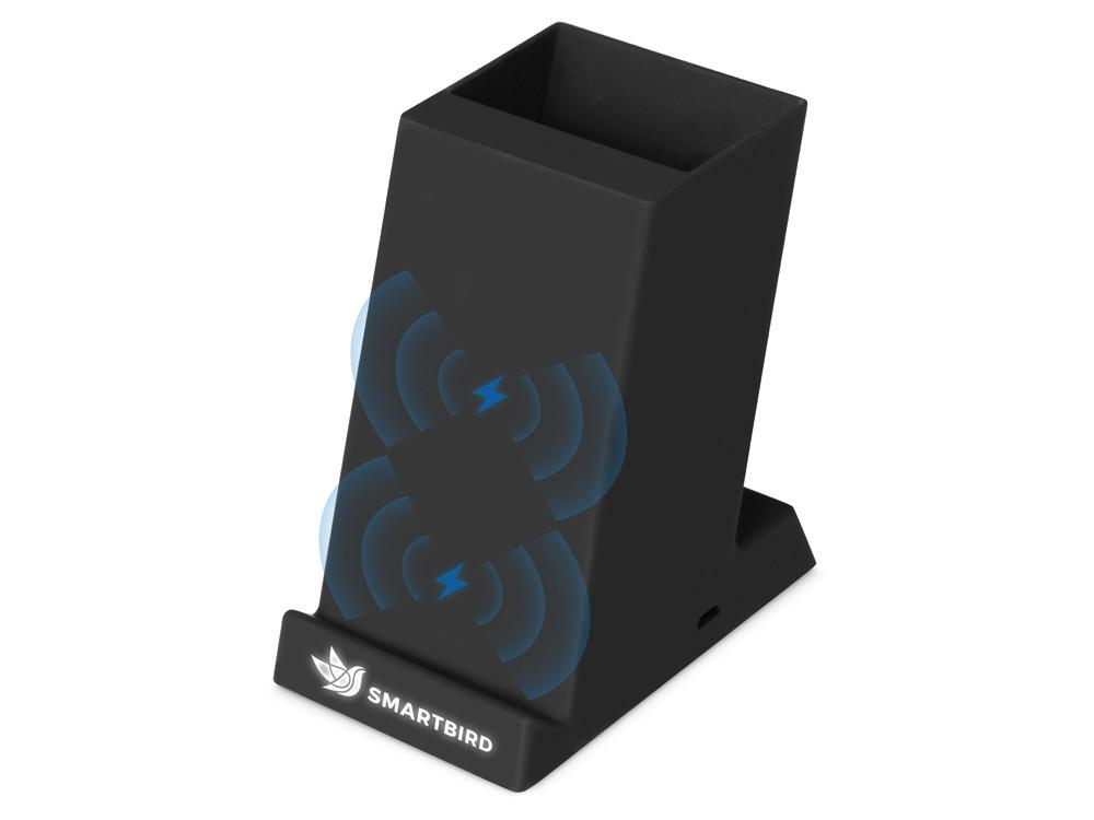 Беспроводная зарядка-подставка с подсветкой Glow box, черный