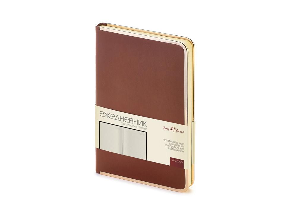 Ежедневник А5 недатированный Chelsea, коричневый (золотистый кант и срез)