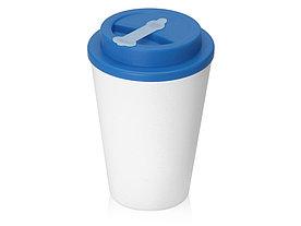 Пластиковый стакан Take away с двойными стенками и крышкой с силиконовым клапаном, 350 мл, белый/голубой