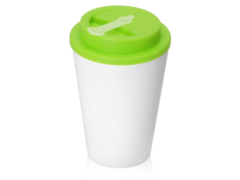 Пластиковый стакан Take away с двойными стенками и крышкой с силиконовым клапаном, 350 мл, белый/зел. Яблоко