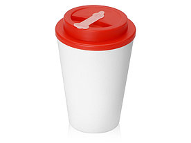 Пластиковый стакан Take away с двойными стенками и крышкой с силиконовым клапаном, 350 мл, белый/красный