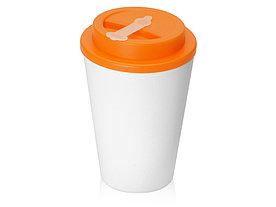 Пластиковый стакан Take away с двойными стенками и крышкой с силиконовым клапаном, 350 мл, белый/оранжевый