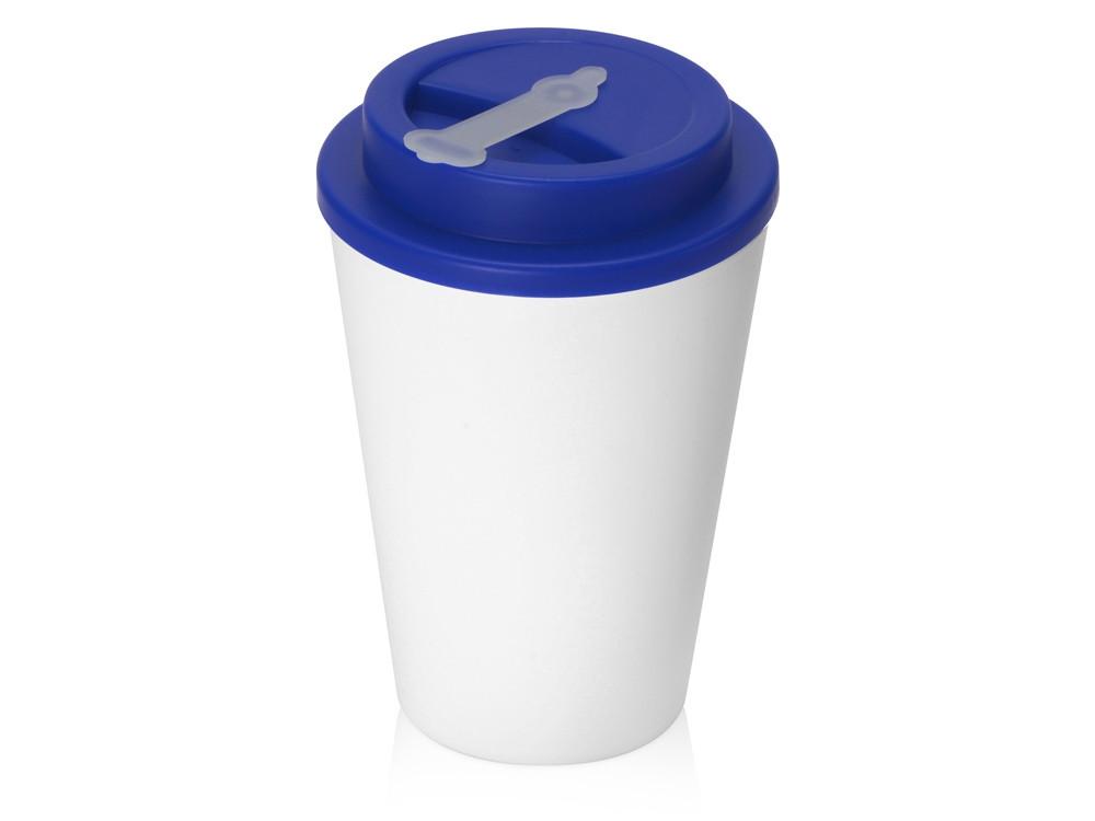 Пластиковый стакан Take away с двойными стенками и крышкой с силиконовым клапаном, 350 мл, белый/синий