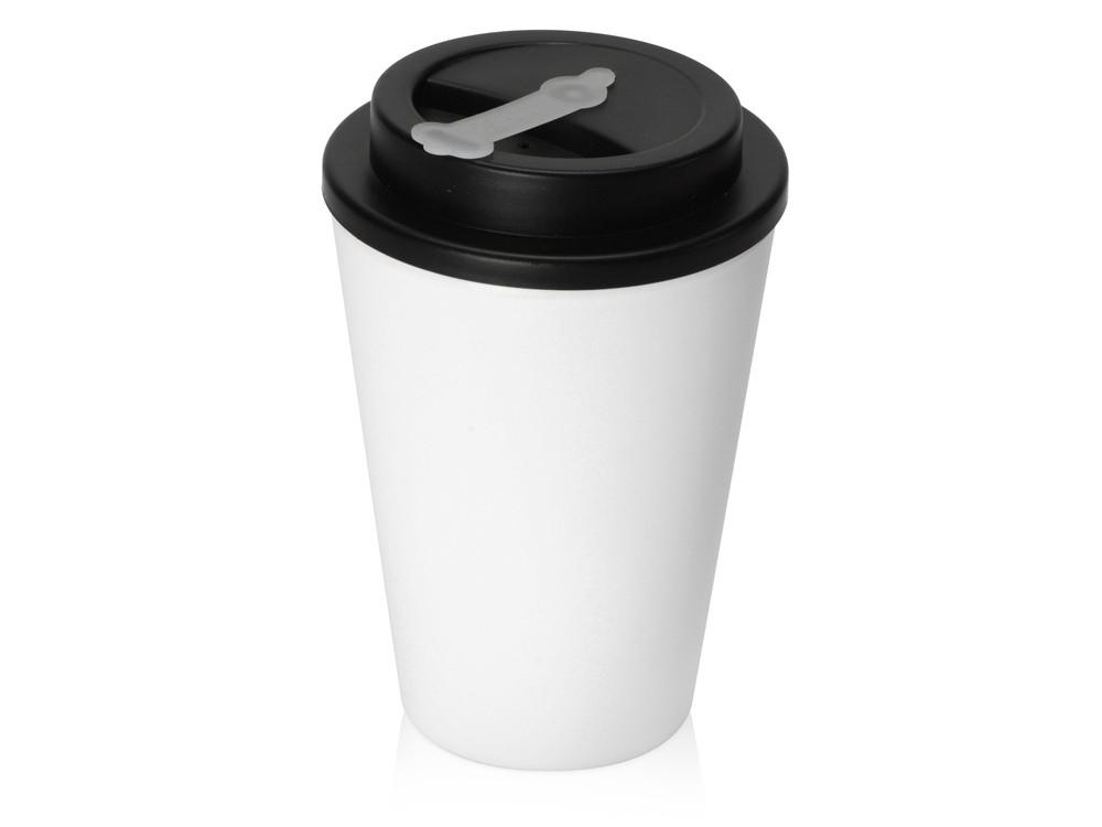 Пластиковый стакан Take away с двойными стенками и крышкой с силиконовым клапаном, 350 мл, белый/черный