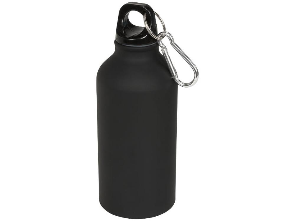 Матовая спортивная бутылка Oregon с карабином и объемом 400 мл, черный