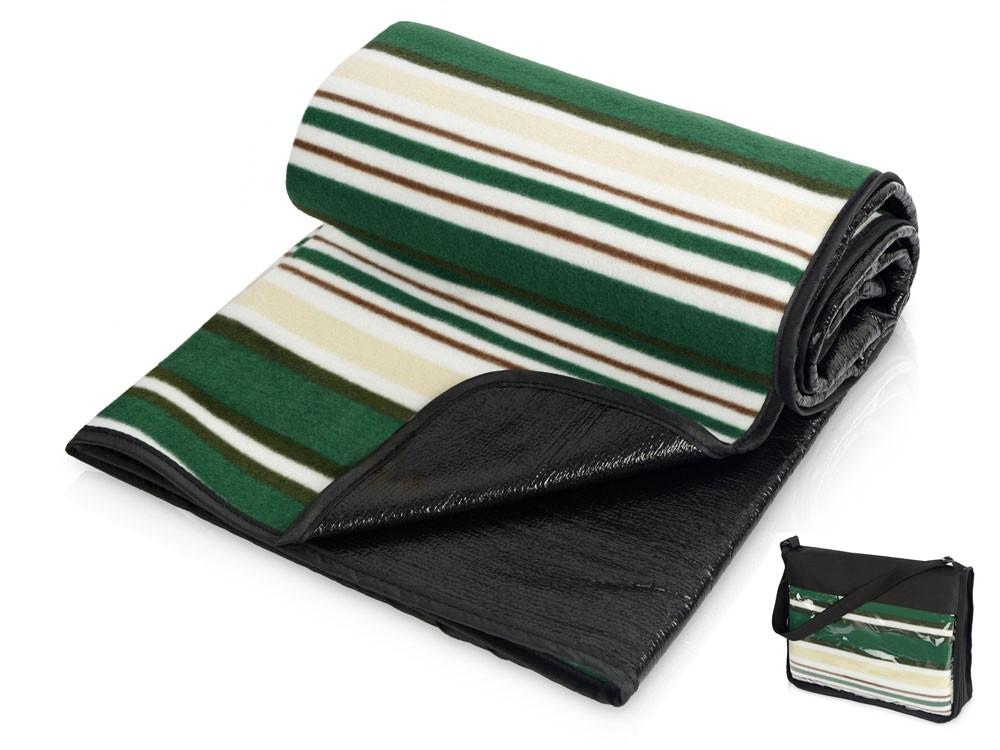 Плед в полоску в сумке Junket, зеленый