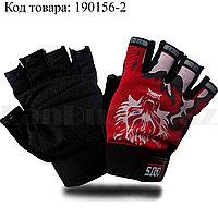 Перчатки для фитнеса и тренажеров турника противоскользящие (без пальцев) волк красные