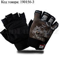Перчатки для фитнеса и тренажеров турника противоскользящие (без пальцев) волк коричневые