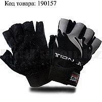 Перчатки для фитнеса и тренажеров турника противоскользящие (без пальцев) Sports черные