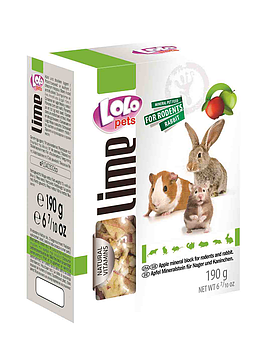 Lolo Pets Минеральный камень для грызунов и кроликов 190 гр, яблоко