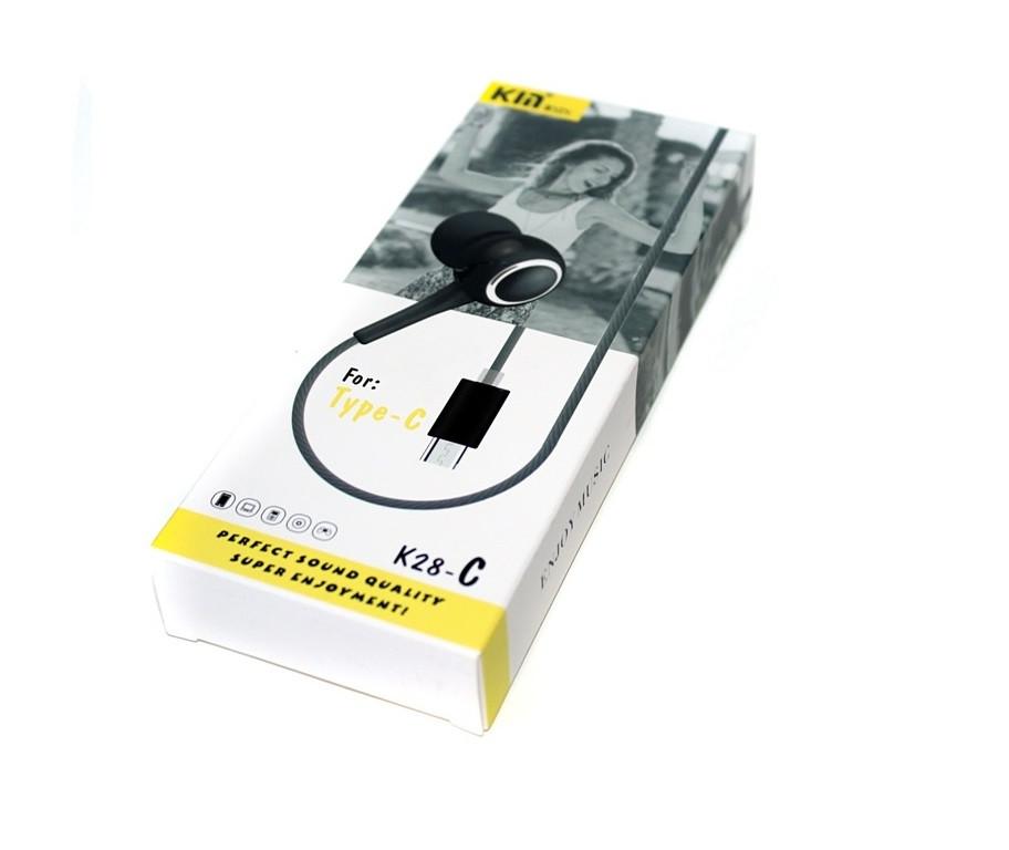 Проводная стерео-гарнитура KIN K28-C, USB Type-C, вакуумные, микрофон, черные