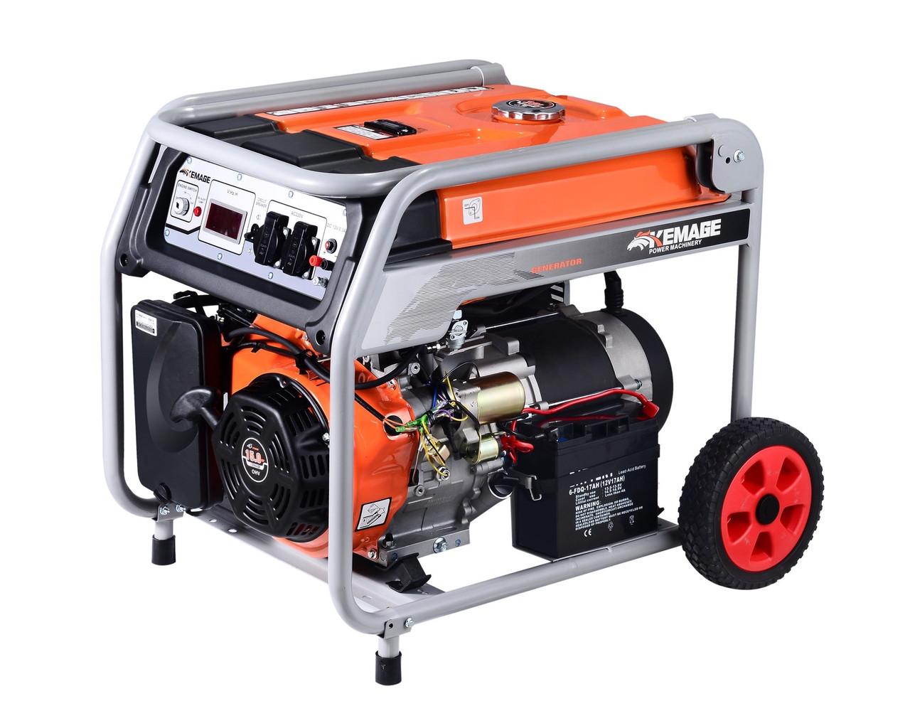 Генератор бензиновый TOR KM6500H 5,0кВт 220В 27л с кнопкой запуска и колесами
