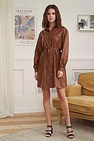 Женское осеннее кожаное коричневое платье Fantazia Mod 3908 48р.