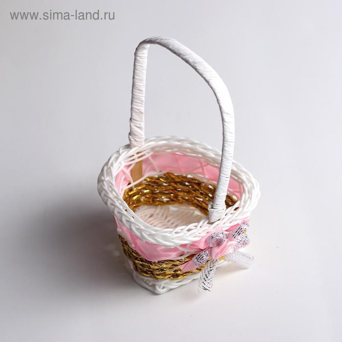 Миниатюра кукольная - корзинка «Цветочек», цвет розовый - фото 2